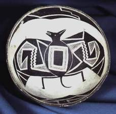 Mimbres black-on-white pottery bowl with bat motif