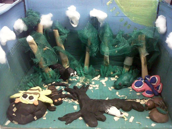 forest clay diorama