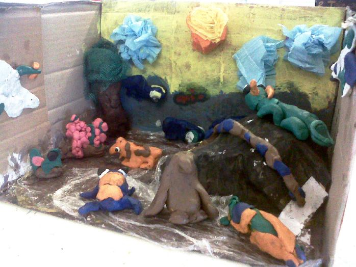 pond clay diorama
