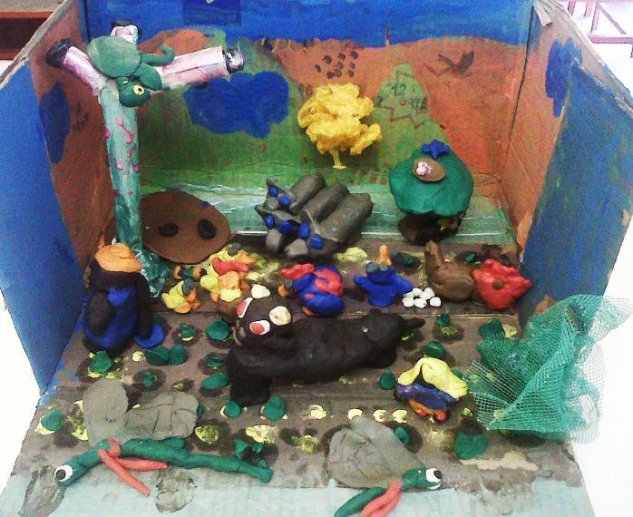ricefield clay diorama