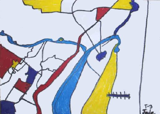 Student drawing of a map in the style of Mondrian