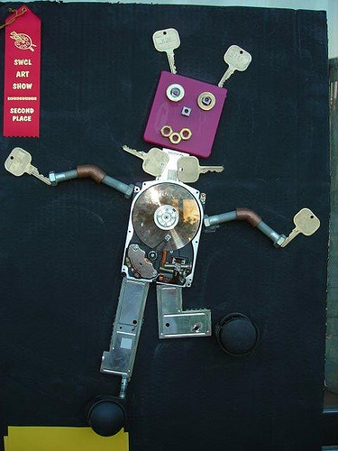 Art Lesson Recycled Robot Sculptures