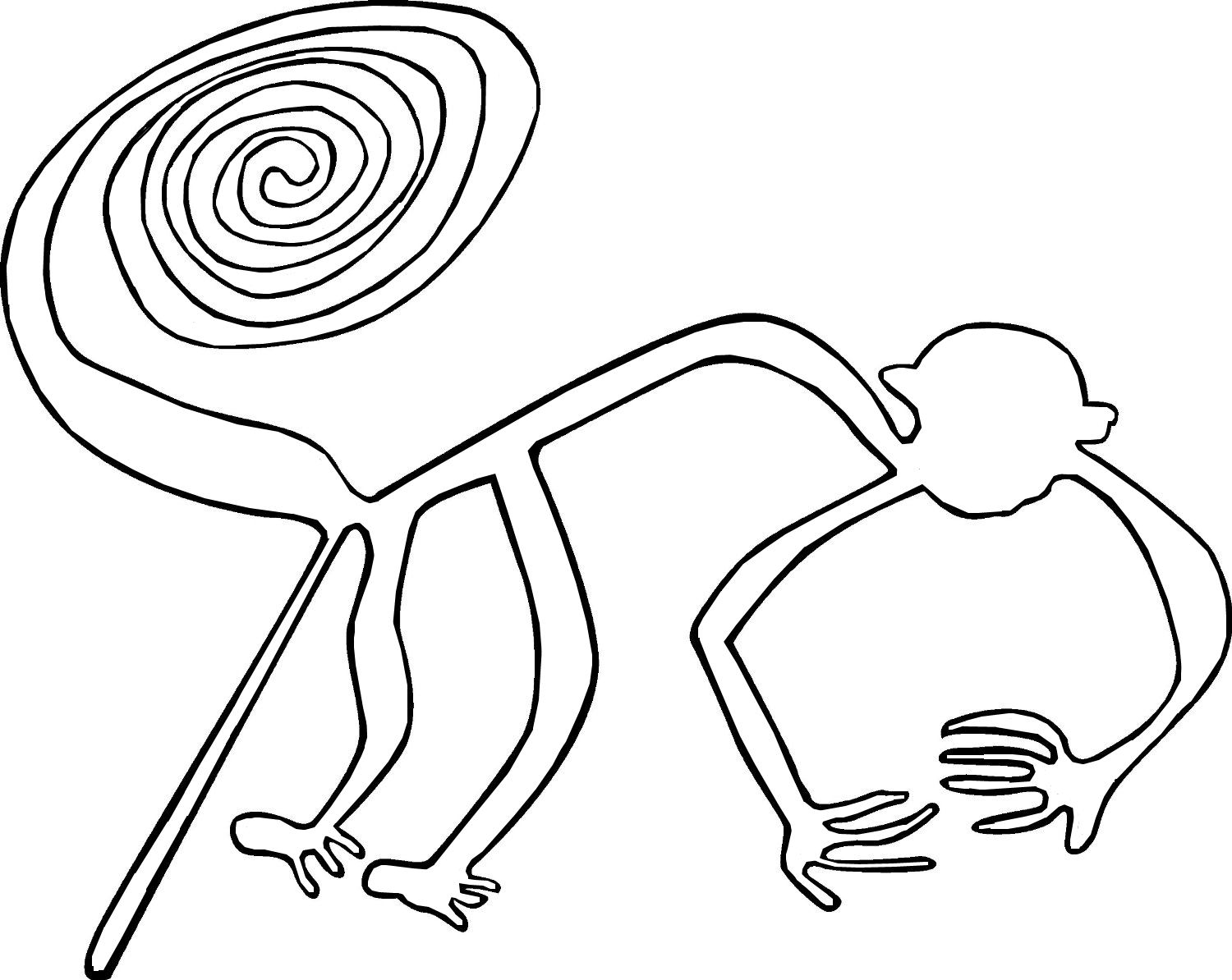 Line Drawing Monkey : Art lesson nazca plateau contour line drawing