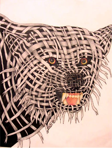 Contour Line Drawing Animal : Art lesson wrapped animal portrait drawings