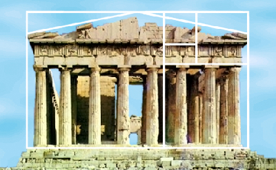 Parthenon divided by golden ratio