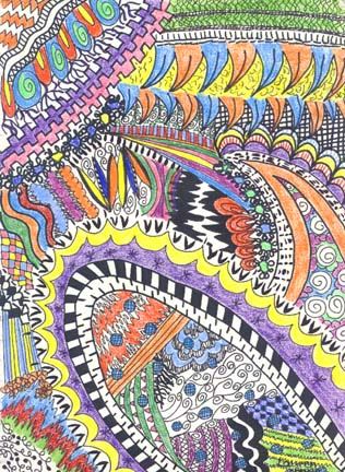 art lesson sketchbook line and pattern drawings