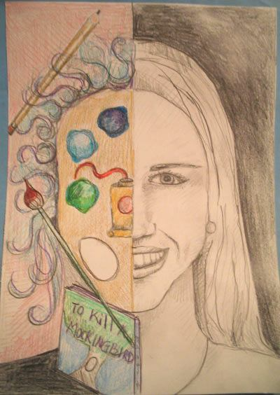 Art lesson split face colored pencil self portrait for Art drawing ideas for adults