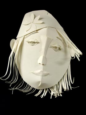 Art Lesson Paper Sculptural Face Mask Reliefs
