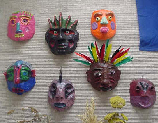 Art lesson paper mache masks for Papier mache decorations