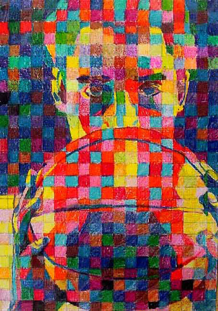 how to make a chuck close style portrait