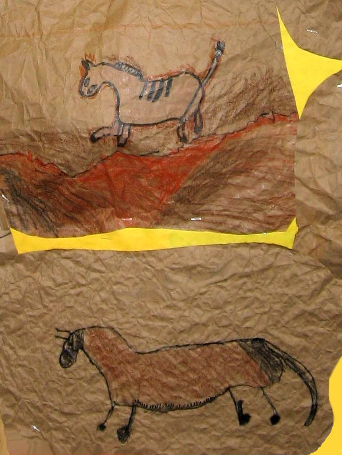 Caveman Art Project : Art lesson pastel and charcoal cave painting