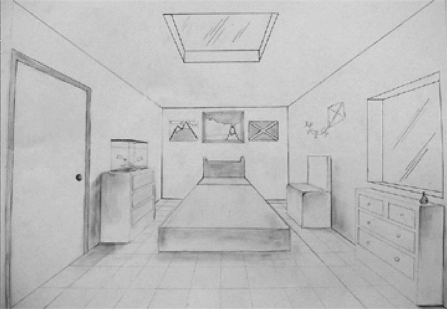 vanishing point bedroom drawing related keywords