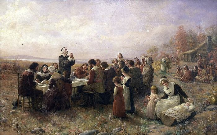 The First Thanksgiving at Plymouth (oil on canvas, 1914), by Jennie Augusta Brownscombe (1850–1936)