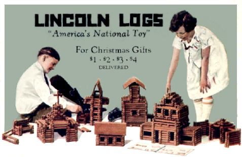 Kids playing Lincoln Logs
