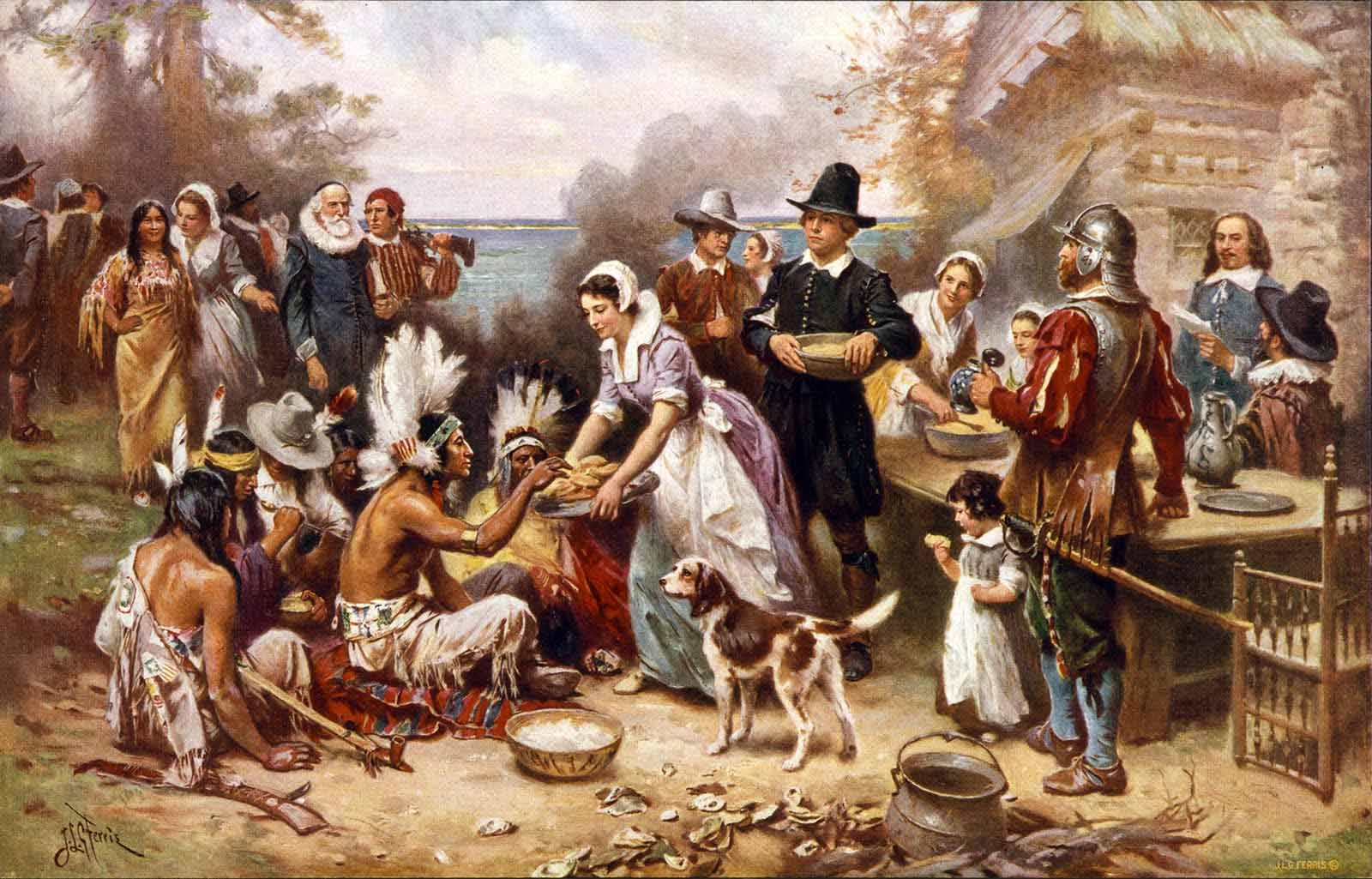 "The First Thanksgiving"" (1915), by Jean Louis Gerome Ferris (American ..."
