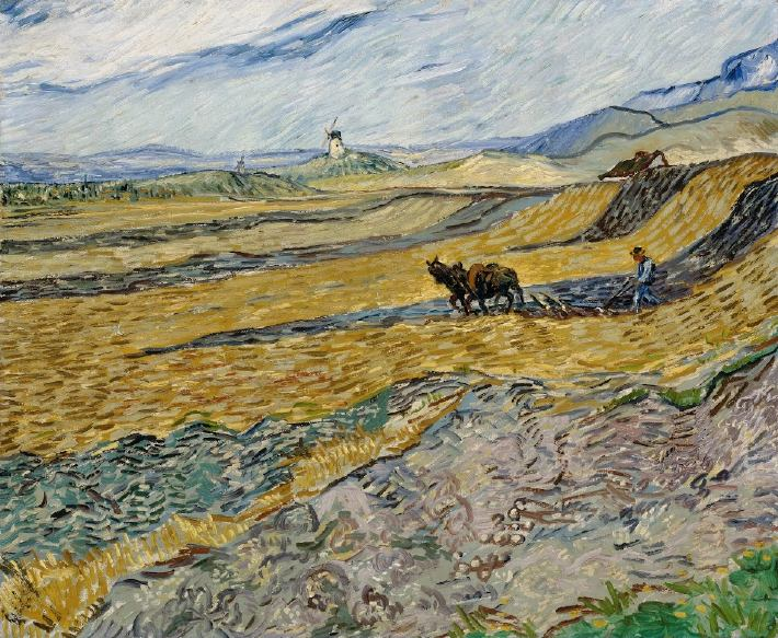Enclosed Field with Plowman by Van Gogh